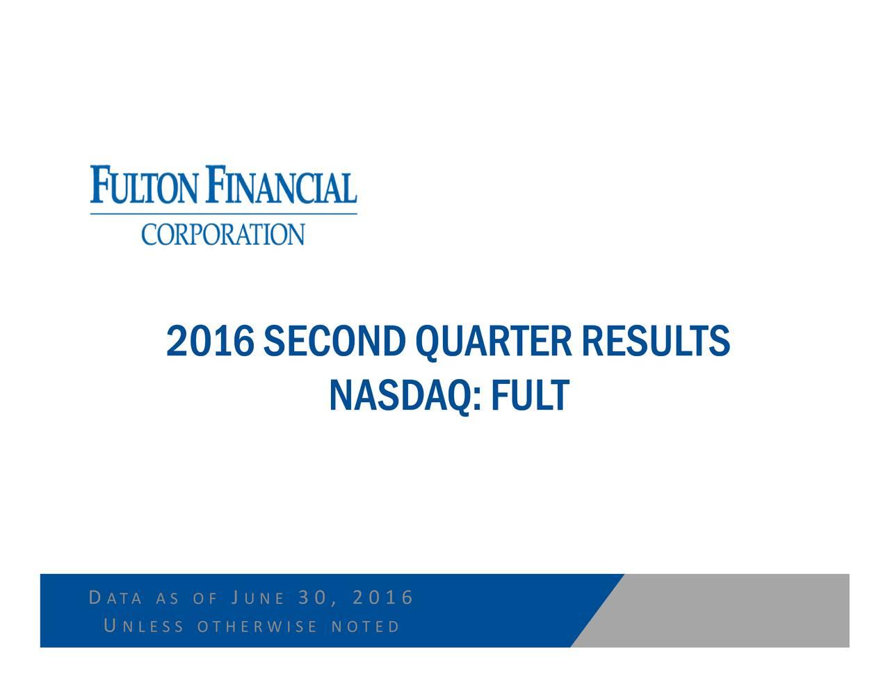 NASDAQ:FU3 0 , 2 0 1 6 J N E 2016SSECONDQQUARTERRRESULTS N L E S S O T H E R W I S E N O T E D DUA A S O F