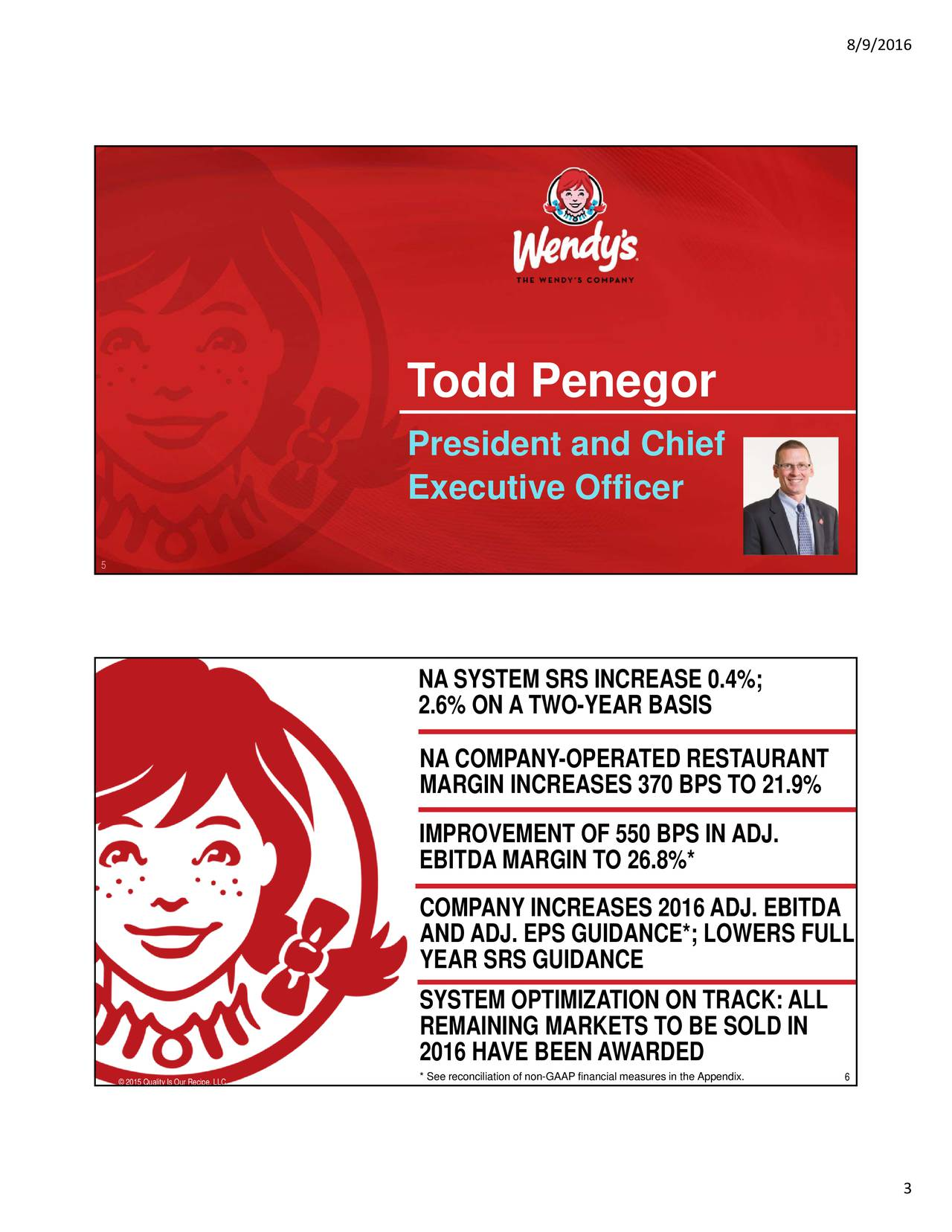 Todd Penegor President and Chief Executive Officer 5 NA SYSTEM SRS INCREASE 0.4%; 2.6% ON A TWO-YEAR BASIS NA COMPANY-OPERATED RESTAURANT MARGIN INCREASES 370 BPS TO 21.9% IMPROVEMENT OF 550 BPS IN ADJ. EBITDA MARGIN TO 26.8%* COMPANY INCREASES 2016ADJ. EBITDA ANDADJ. EPS GUIDANCE*; LOWERS FULL YEAR SRS GUIDANCE SYSTEM OPTIMIZATION ON TRACK:ALL REMAINING MARKETS TO BE SOLD IN 2016 HAVE BEEN AWARDED * See reconciliation of non-GAAP finan6ial measures in the Appendix. 2015 Quality Is Our Recipe, LLC 3
