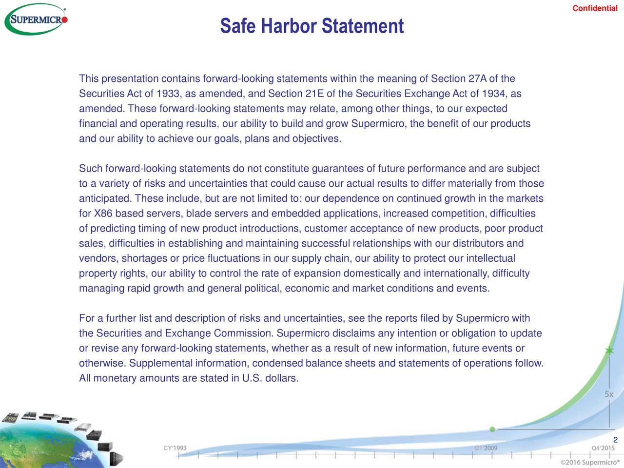 Safe Harbor Statement This presentation contains forward-looking statements within the meaning of Section 27A of the Securities Act of 1933, as amended, and Section 21E of the Securities Exchange Act of 1934, as amended. These forward-looking statements may relate, among other things, to our expected financial and operating results, our ability to build and grow Supermicro, the benefit of our products and our ability to achieve our goals, plans and objectives. Such forward-looking statements do not constitute guarantees of future performance and are subject to a variety of risks and uncertainties that could cause our actual results to differ materially from those anticipated. These include, but are not limited to: our dependence on continued growth in the markets for X86 based servers, blade servers and embedded applications, increased competition, difficulties of predicting timing of new product introductions, customer acceptance of new products, poor product sales, difficulties in establishing and maintaining successful relationships with our distributors and vendors, shortages or price fluctuations in our supply chain, our ability to protect our intellectual property rights, our ability to control the rate of expansion domestically and internationally, difficulty managing rapid growth and general political, economic and market conditions and events. For a further list and description of risks and uncertainties, see the reports filed by Supermicro with the Securities and Exchange Commission. Supermicro disclaims any intention or obligation to update or revise any forward-looking statements, whether as a result of new information, future events or otherwise. Supplemental information, condensed balance sheets and statements of operations follow. All monetary amounts are stated in U.S. dollars. 2 CY Q1 Q4
