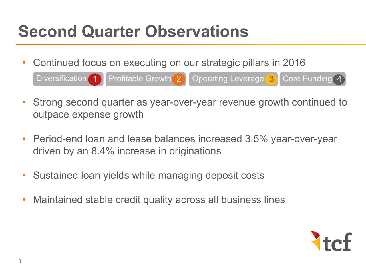 Continued focus on executing on our strategic pillars in 2016 Diversificati1n Profitable Grow2h Operating Leverage3 Core Funding4 Strong second quarter as year-over-year revenue growth continued to outpace expense growth Period-end loan and lease balances increased 3.5% year-over-year driven by an 8.4% increase in originations Sustained loan yields while managing deposit costs Maintained stable credit quality across all business lines 3