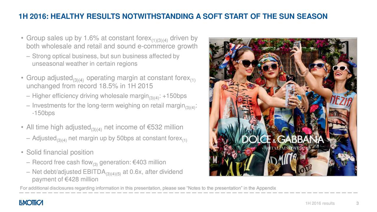 Group sales up by 1.6% at constant forex (1)(3)(4)riven by both wholesale and retail and sound e-commerce growth Strong optical business, but sun business affected by unseasonal weather in certain regions Group adjusted (3)(4)operating margin at constant forex (1) unchanged from record 18.5% in 1H 2015 Higher efficiency driving wholesale margin (3)(4)+150bps Investments for the long-term weighing on retail margin (3)(4) -150bps All time high adjusted (3)(4)net income of 532 million Adjusted net margin up by 50bps at constant forex (3)(4) (1) Solid financial position Record free cash flow (3)generation: 403 million Net debt/adjusted EBITDA at 0.6x, after dividend (3)(4)(5) payment of 428 million For additional disclosures regarding information in this presentation, please see Notes to the presentation in the Appendix 1H 2016 results 3