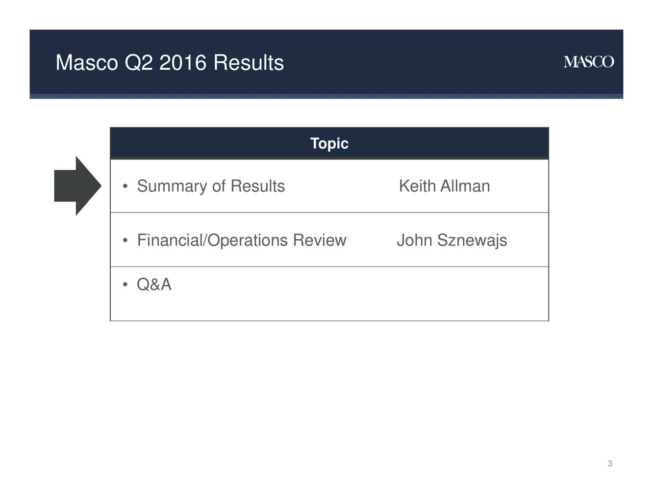 Topic Summary ofAesultsperations RevKeith Allmanznewajs Masco Q2 2016 Results