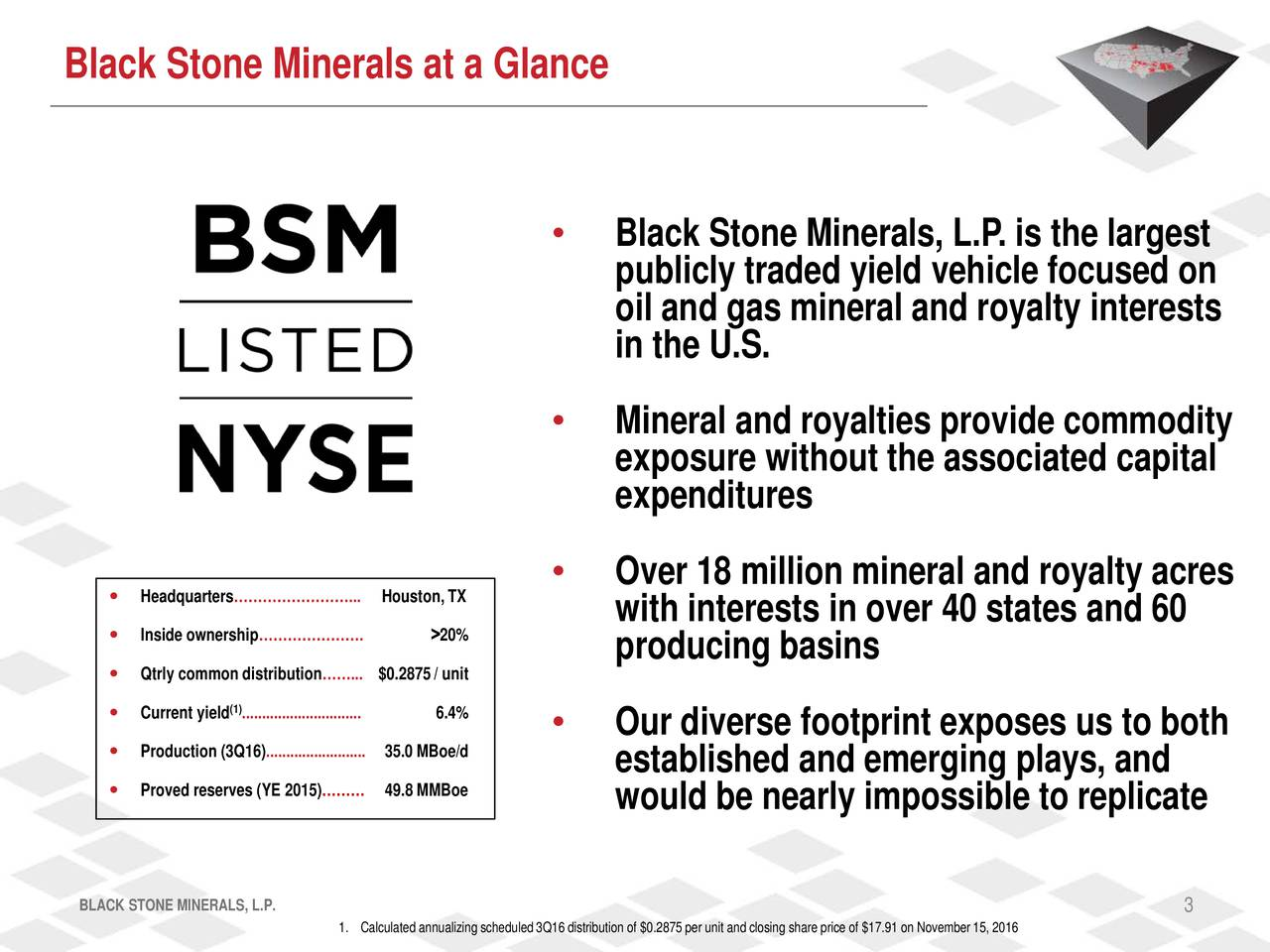 Black Stone Minerals, L.P. is the largest publicly traded yield vehicle focused on oil and gas mineral and royalty interests in the U.S. Mineral and royalties provide commodity exposure without the associated capital expenditures Headquarters...Houston, TX  Over 18 million mineral and royalty acres with interests in over 40 states and 60 Inside ownership. >20% Qtrly common distribut$0.2875 / unit producing basins Current yield ..............6.4%............ Production (3Q16)......35.0 MBoe/d........ Our diverse footprint exposes us to both established and emerging plays, and Proved reserves (YE 20149.8 MMBoe would be nearly impossible to replicate BLACK STONE MINERALS, L.P. 3 1. Calculated annualizing scheduled 3Q16 distribution of $0.2875 per unit and closing share price of $17.91 on November 15, 2016