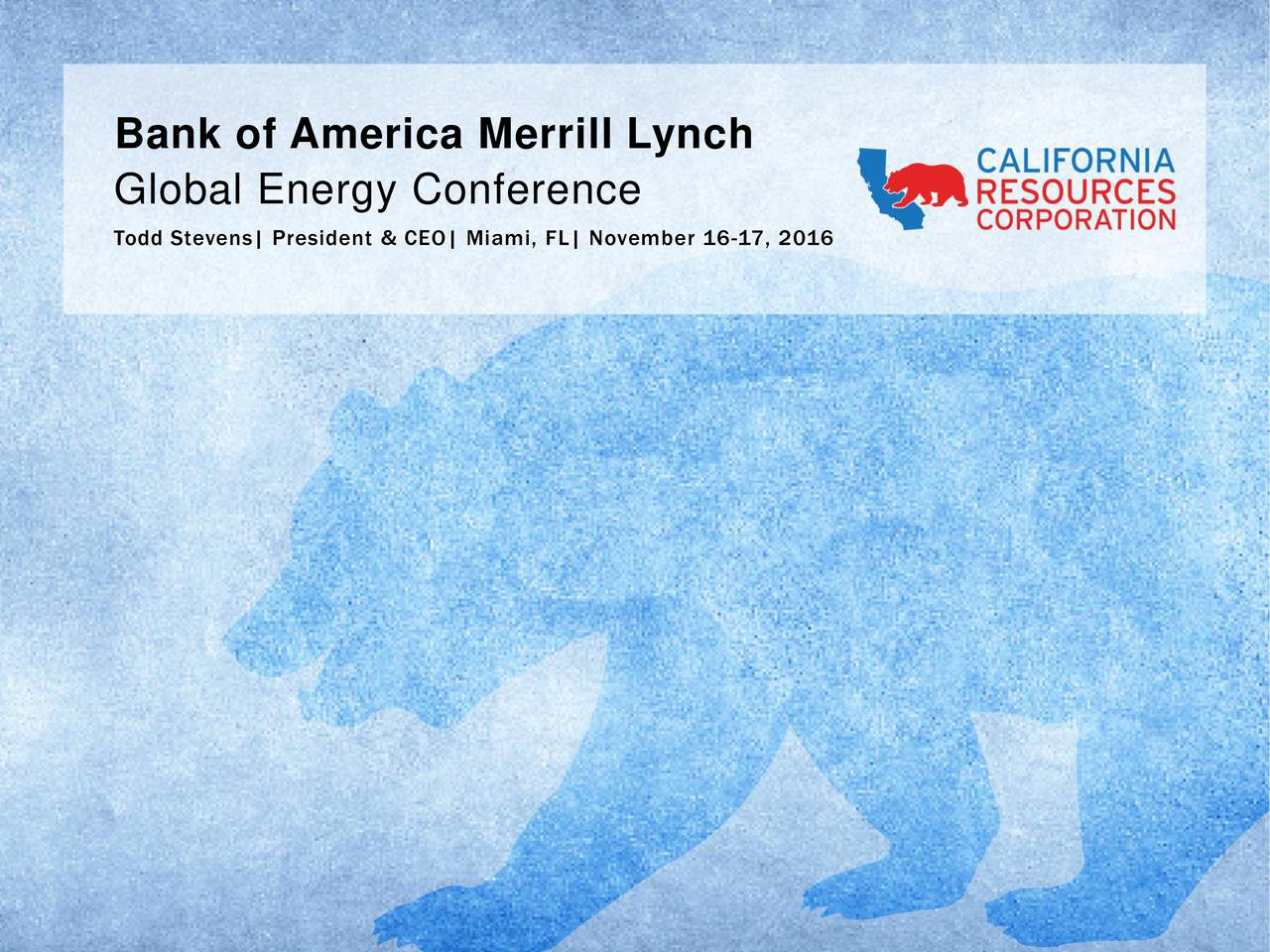 Global Energy Conference Todd Stevens| President & CEO| Miami, FL| November 16-17, 2016