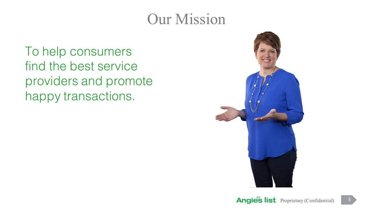 To help consumers find the best service providers and promote happy transactions. 3 3 Proprietary (Confidential)