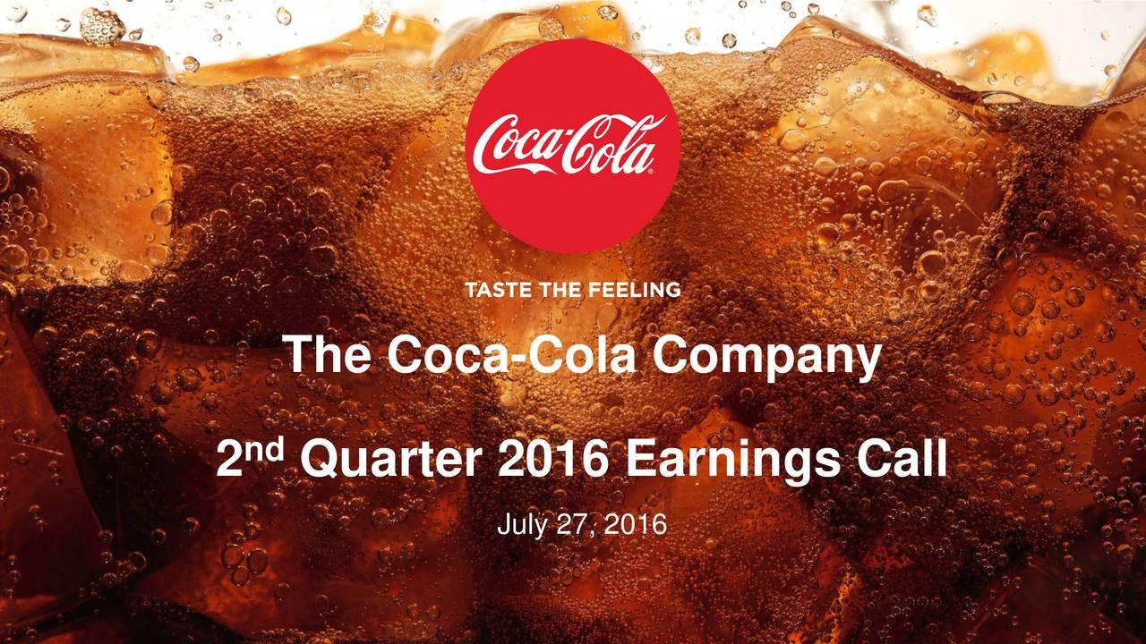 2nd Quarter 2016 Earnings Call July 27, 2016