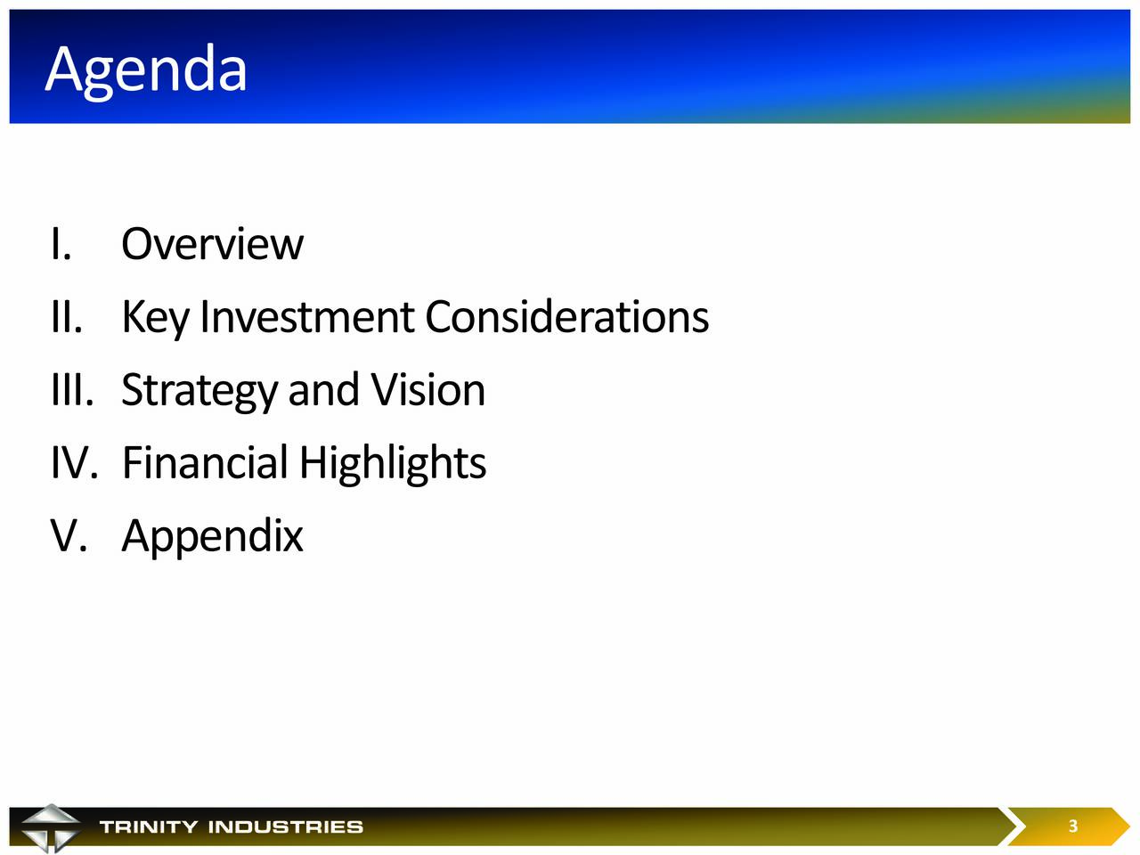 I. Overview II. Key Investment Considerations III. Strategy and Vision IV. Financial Highlights V. Appendix 3