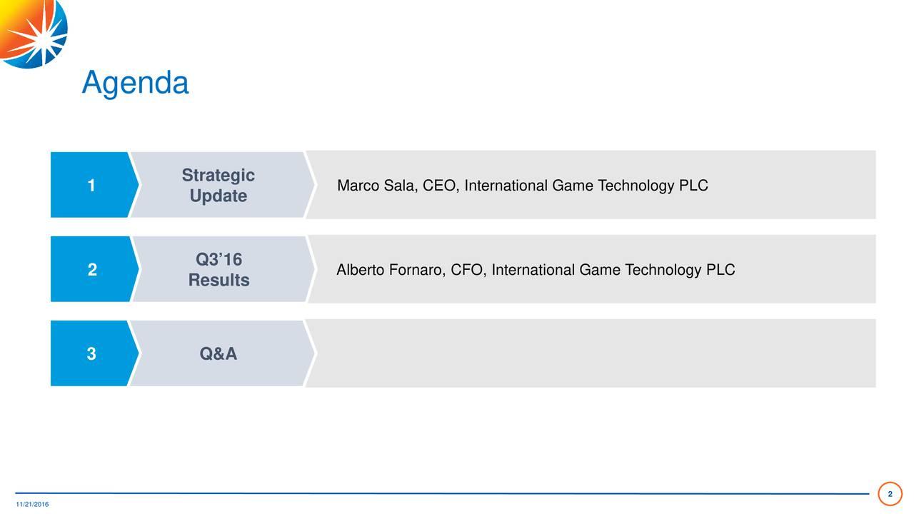 Strategic Marco Sala, CEO, International Game Technology PLC 1 Update Q316 2 Results Alberto Fornaro, CFO, International Game Technology PLC 3 Q&A 2
