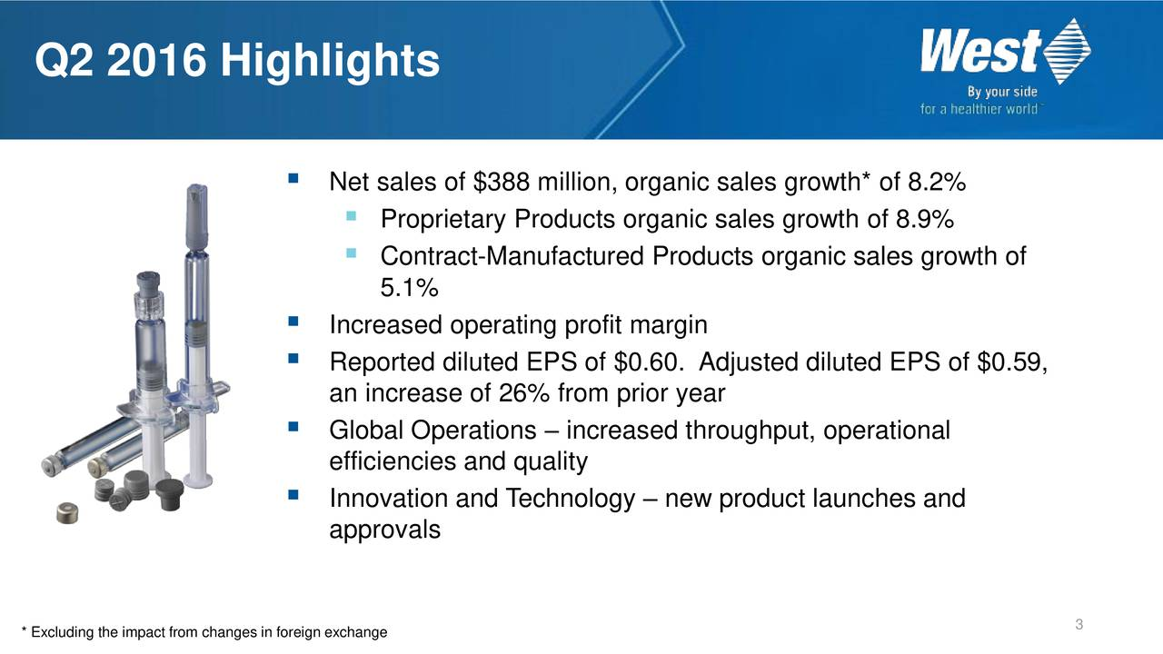 Net sales of $388 million, organic sales growth* of 8.2% Proprietary Products organic sales growth of 8.9% Contract-Manufactured Products organic sales growth of 5.1% Increased operating profit margin Reported diluted EPS of $0.60. Adjusted diluted EPS of $0.59, an increase of 26% from prior year Global Operations  increased throughput, operational efficiencies and quality Innovation and Technology  new product launches and approvals * Excluding the impact from changes in foreign exchange 3