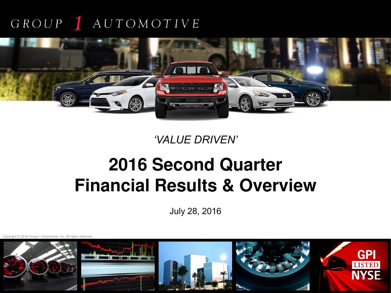 2016 Second Quarter Financial Results & Overview July 28, 2016 Copyright  2016 Group 1 Automotive, Inc. All rights reserved.