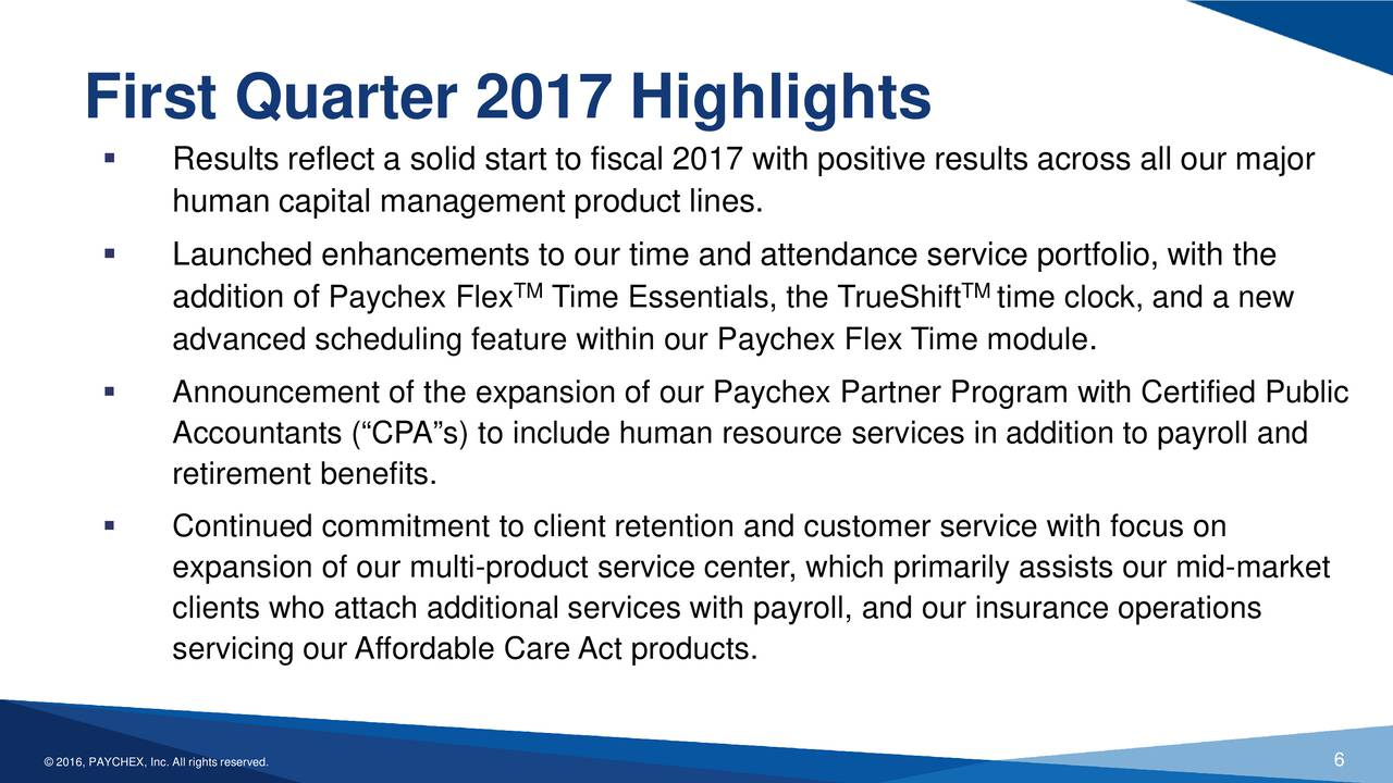 Paychex, Inc. 2017 Q1 - Results - Earnings Call Slides - Paychex ...
