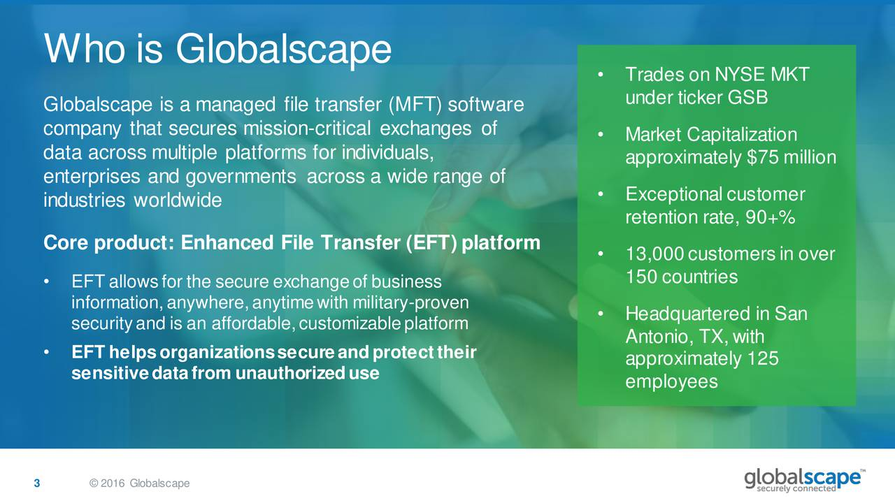 Trades on NYSE MKT under ticker GSB Globalscape is a managed file transfer (MFT) software company that secures mission-critical exchanges of  Market Capitalization data across multiple platforms for individuals, approximately $75 million enterprises and governments across a wide range of Exceptional customer industries worldwide retention rate, 90+% Core product: Enhanced File Transfer (EFT) platform  13,000customersin over EFT allowsfor the secure exchangeof business 150 countries information,anywhere,anytimewith military-proven securityand is an affordable,customizableplatform  Headquartered in San Antonio, TX,with EFT helpsorganizationssecureandprotecttheir approximately 125 sensitivedatafrom unauthorizeduse employees 3  2016 Globalscape