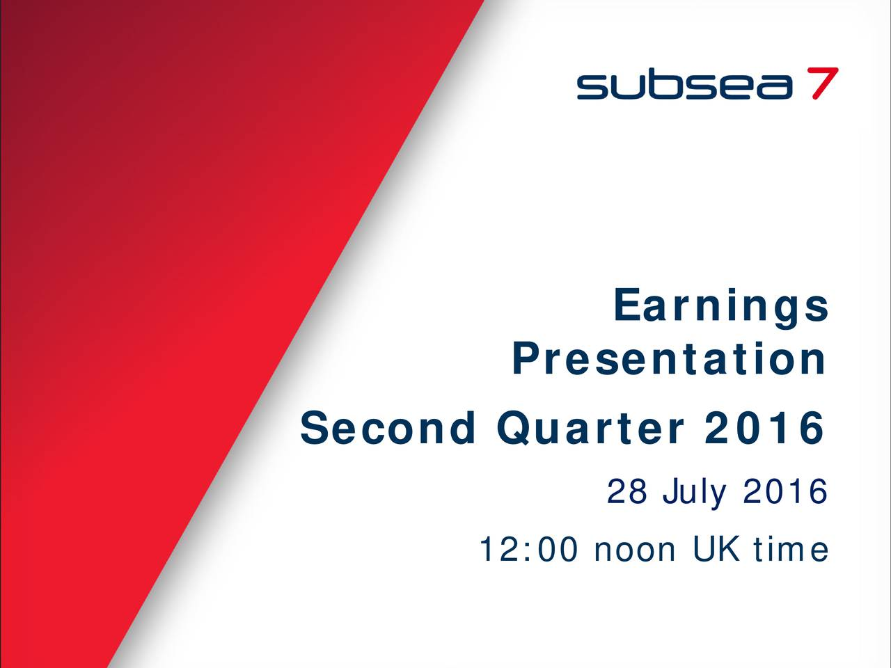 Presentation Second Quarter 2016 28 July 2016 12:00 noon UK time 1