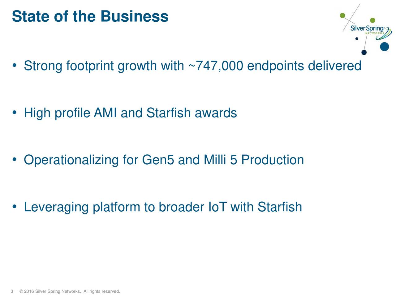 Strong footprint growth with ~747,000 endpoints delivered High profile AMI and Starfish awards Operationalizing for Gen5 and Milli 5 Production Leveraging platform to broader IoT with Starfish