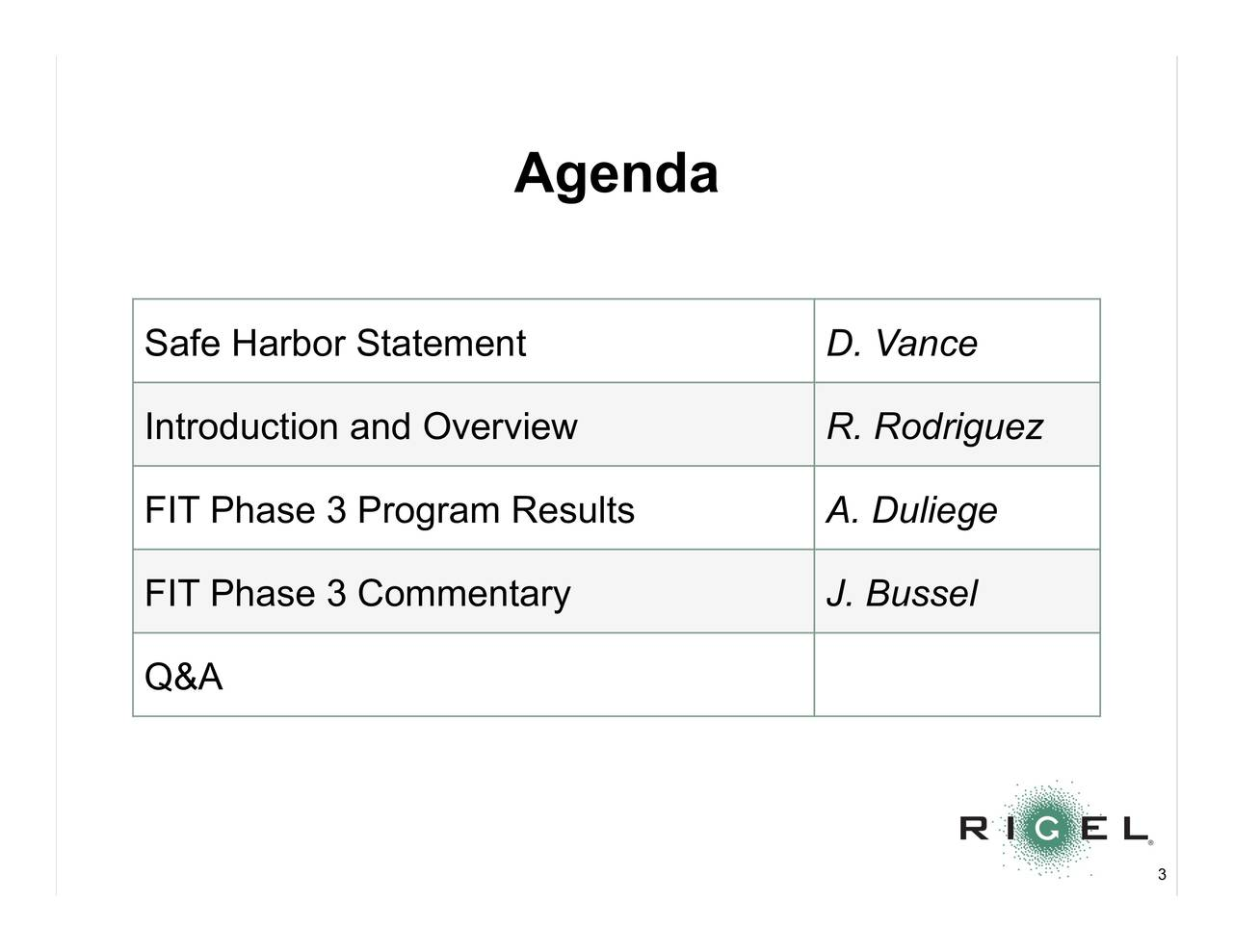 Safe Harbor Statement D. Vance Introduction and Overview R. Rodriguez FIT Phase 3 Program Results A.Duliege FIT Phase 3 Commentary J. Bussel Q&A 3