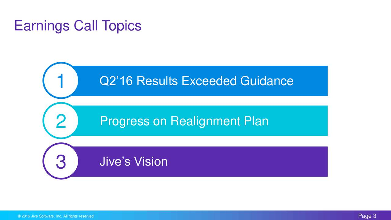 1 Q216 Results Exceeded Guidance 2 Progress on Realignment Plan 3 Jives Vision