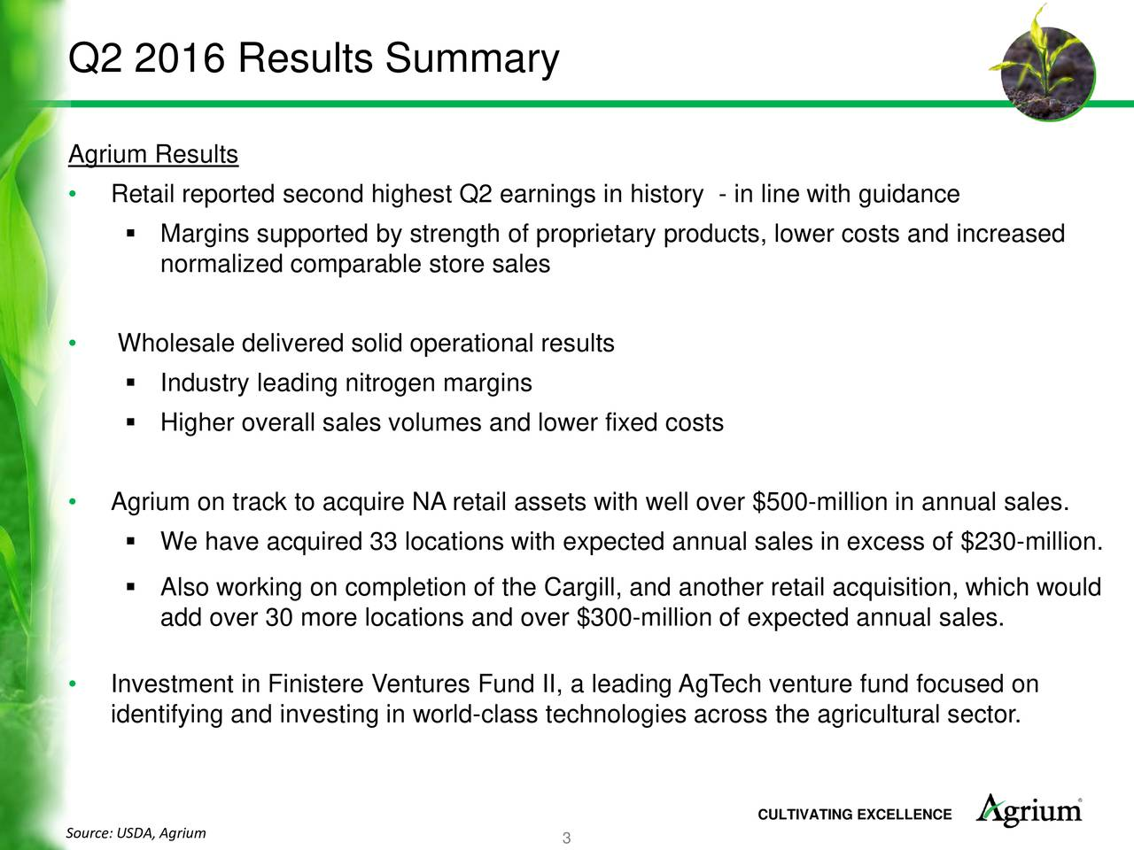 Agrium Results Retail reported second highest Q2 earnings in history - in line with guidance Margins supported by strength of proprietary products, lower costs and increased normalized comparable store sales Wholesale delivered solid operational results Industry leading nitrogen margins Higher overall sales volumes and lower fixed costs Agrium on track to acquire NA retail assets with well over $500-million in annual sales. We have acquired 33 locations with expected annual sales in excess of $230-million. Also working on completion of the Cargill, and another retail acquisition, which would add over 30 more locations and over $300-million of expected annual sales. Investment in Finistere Ventures Fund II, a leading AgTech venture fund focused on identifying and investing in world-class technologies across the agricultural sector. Source: USDA, Agrium CULTIVATING EXCELLENCE