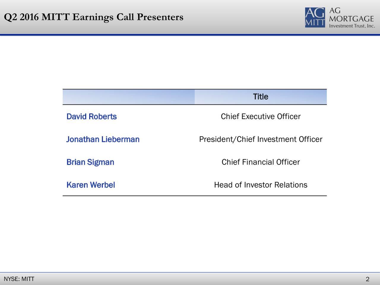 Title DavidRoberts Chief Executive Officer Jonathan Lieberman President/Chief Investment Officer Brian Sigman Chief Financial Officer Karen Werbel Head of Investor Relations NYSE: MITT